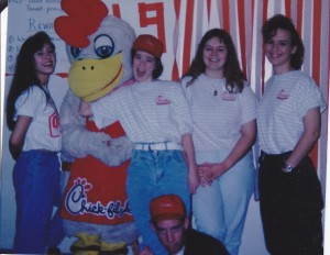 Yes. I'm in the chicken costume. It is one of my favorite pictures ever of EronMarie. Danielle, me, EronMarie, Kim, Rachelle, Daniel